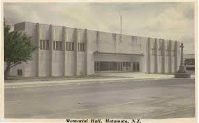 Name:  Matamata 1950 #26 The Memorial Hall Tainui Street by Library .jpg