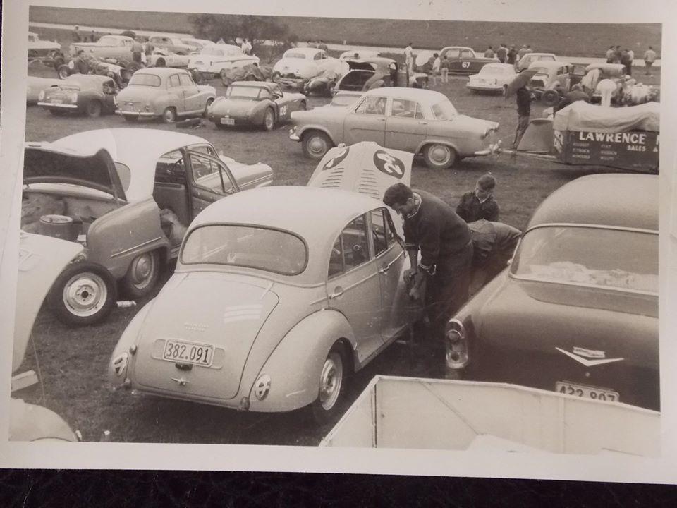 Name:  Pukekohe 1960 # Morris Minor Ron Brown George Johnson on wheels Ron under bonnet Alan Boyle .jpg Views: 467 Size:  85.5 KB