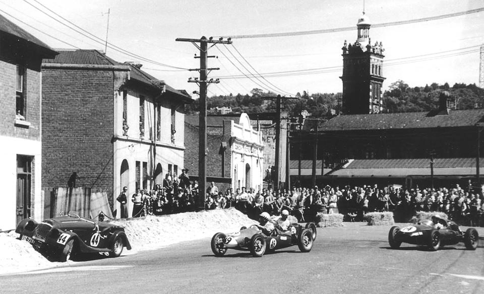 Name:  Dunedin 1958 #6 Sports Car Races Morgan in bank and sungle seaters Jim Bennett .jpg