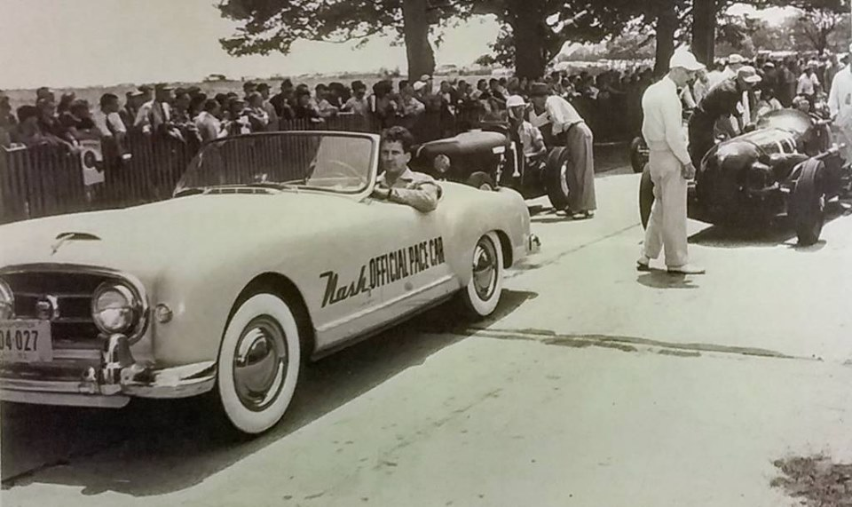Name:  AH 100 #176 Nash Healey Pace Car Indy 1952 New York Reg at a Race Meeting 1952 .jpg