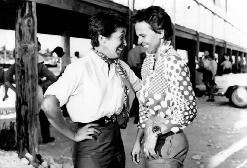 Name:  1957 ; Ruth Levy and Denise McCluggage before the Ladies' Race.jpg