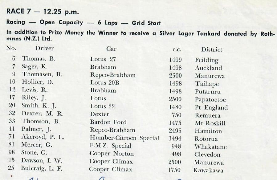 Name:  Pukekohe 1964 #37 ACC Dec 1964 Single Seater field Race 7  Graham Woods.jpg Views: 68 Size:  80.2 KB