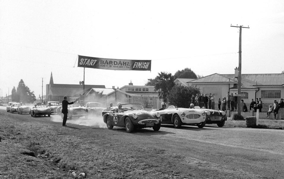 Name:  Motor Racing Matamata #32 1964 26 Daimler Sheffield 28 McLaughlin AH 3000 TR3 the start Ross Cam.jpg