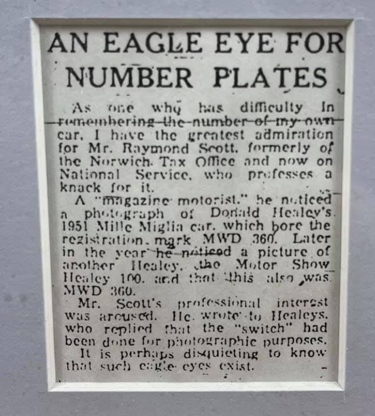 Name:  AH 100 #349 1952 Newspaper article re number plate DMH Scott framed Paul O'neill.jpg Views: 33 Size:  68.6 KB