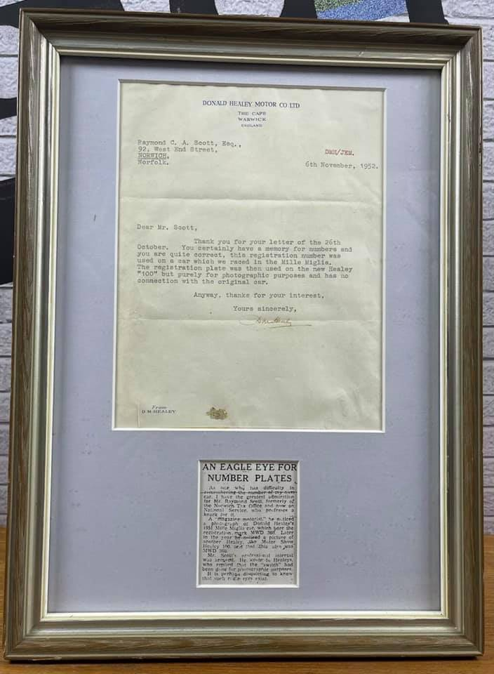 Name:  AH 100 #347 1952 Letter and article re number plate DMH Scott framed Paul O'neill.jpg Views: 97 Size:  66.4 KB
