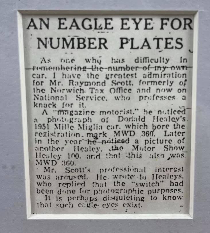 Name:  AH 100 #349 1952 Newspaper article re number plate DMH Scott framed Paul O'neill.jpg Views: 94 Size:  68.6 KB