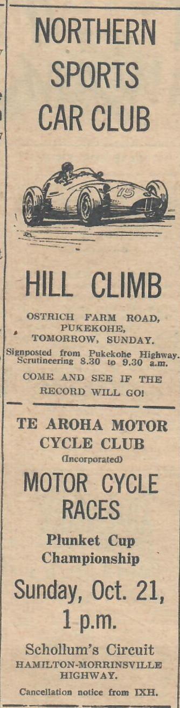 Name:  NSCC 1962 #151 Hill Climb Ostrich Farm Rd and Te Aroha MC Races Advert Sunday Graham Woods .jpg Views: 13 Size:  78.2 KB