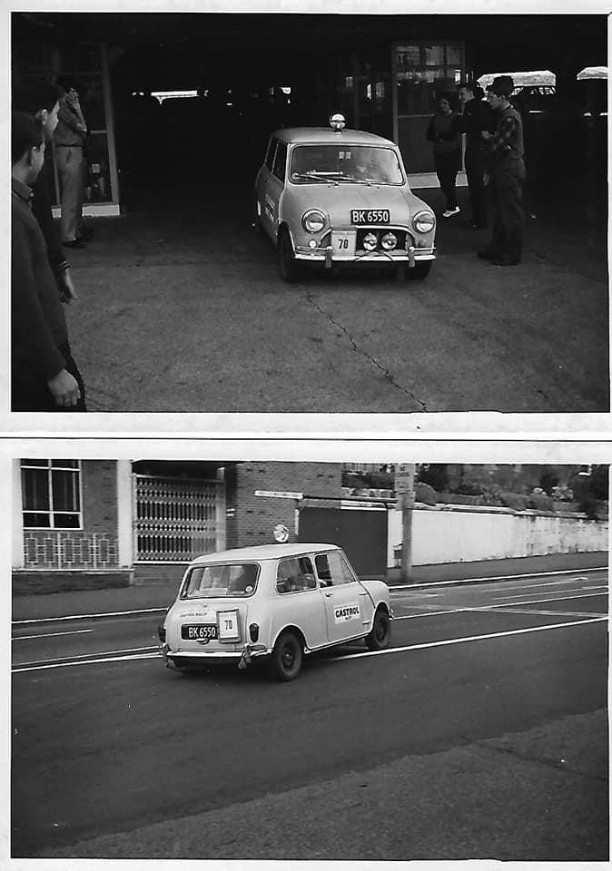 Name:  NSCC 1965 #25 Castrol Rally 1965 Auckland start Farmers Car Park. Myself JLL 1964 Mini 848cc (fi.jpg Views: 176 Size:  64.1 KB
