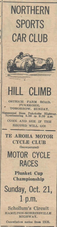 Name:  NSCC 1962 #151 Hill Climb Ostrich Farm Rd and Te Aroha MC Races Advert Sunday Graham Woods .jpg Views: 45 Size:  78.2 KB