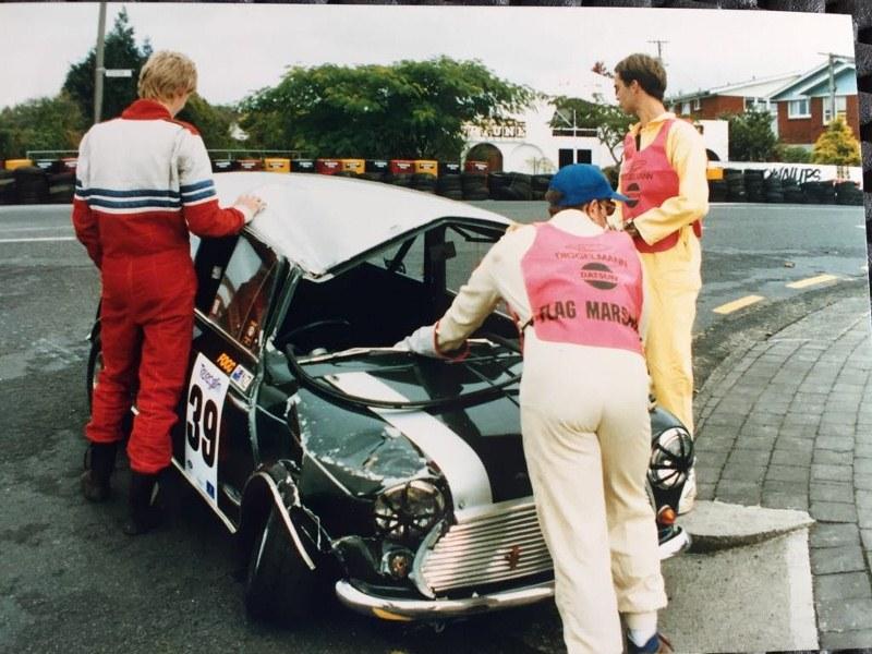 Name:  Telecom Motorfest 1994 #175 Angus Fogg Mini crash resize Laurie Brenssell  (2).jpg Views: 127 Size:  156.9 KB